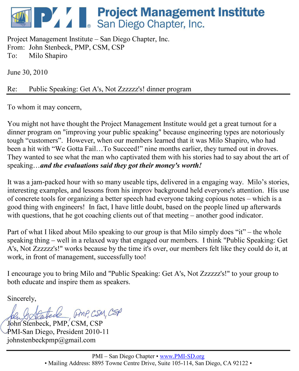 Pmi Letter Of Reference For Public Speaking Keynote